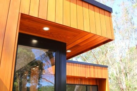 stained timber home